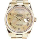 ROLEX ロレックス デイデイト ローマ K番 118208 K18イエローゴールド 自動巻き メンズ ゴールドシェル文字盤 腕時計 中古 SAランク