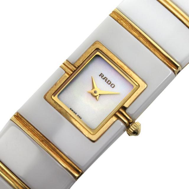 ラドー RADO ダイアスター 963.0425.3 クォーツ セラミック/YG シェル レディース 腕時計 美品 中古 激安 おお蔵