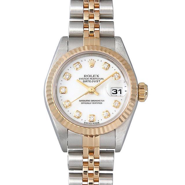 ロレックス デイトジャスト 10Pダイヤ T番 69173G ホワイト レディース(001HROAU0184) 中古 腕時計 送料無料