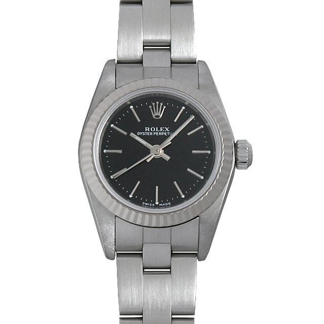 ロレックス オイスターパーペチュアル K番 76094 ブラック/バー レディース(007UROAU0308) 中古 腕時計 送料無料