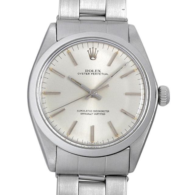 ロレックス オイスターパーペチュアル Cal.1570 18番 1002 シルバー メンズ(008WROAA0029) アンティーク 腕時計 送料無料