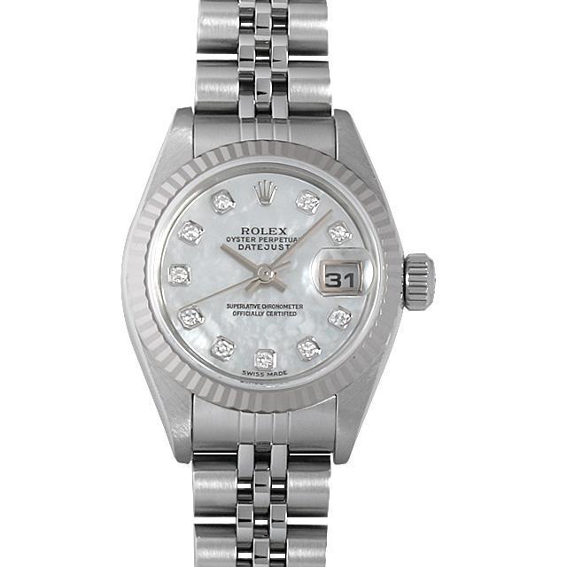 ロレックス デイトジャスト 10Pダイヤ K番 79174NG ホワイトシェル レディース(006XROAU0629) 中古 腕時計 送料無料