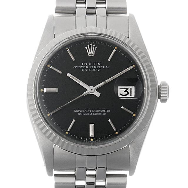 ロレックス デイトジャスト Cal.1570 38番 1601 ブラック/バー メンズ(006XROAA0080) アンティーク 腕時計 送料無料