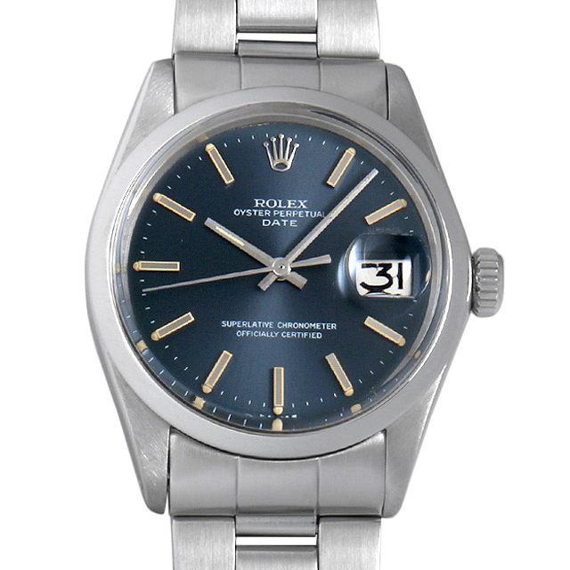 ロレックス オイスターパーペチュアル デイト Cal.1570 25番 1500 ブルー/バー メンズ(006XROAA0077) アンティーク 腕時計 送料無料