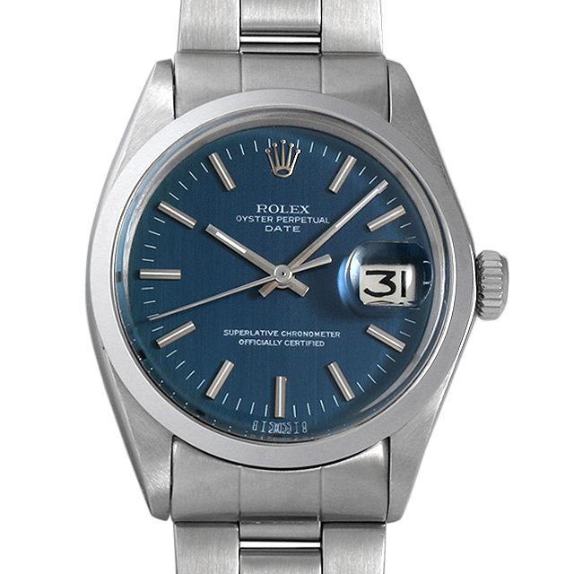 ロレックス オイスターパーペチュアル デイト Cal.1570 25番 1500 ブルー/バー/シグマダイアル メンズ(0BCCROAA0005) アンティーク 腕時計 送料無料