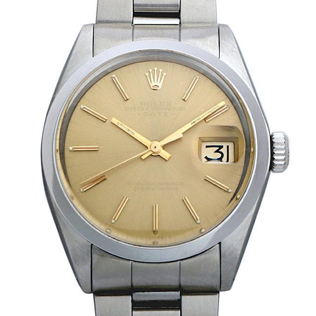 ロレックス オイスターパーペチュアル デイト Cal.1570 29番 1500 ブラウン/バー メンズ(001HROAA0021) アンティーク 腕時計 送料無料