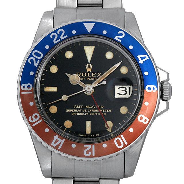 ロレックス GMTマスター 18番 1675 ブラックミラー/小針 エクステンションUSリベットブレス メンズ(007UROAA0047) アンティーク 腕時計 送料無料