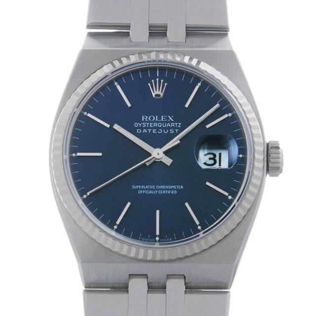 ロレックス オイスタークォーツ デイトジャスト N番 17014 ブルー/バー メンズ(0087ROAU0134) 中古 腕時計 送料無料