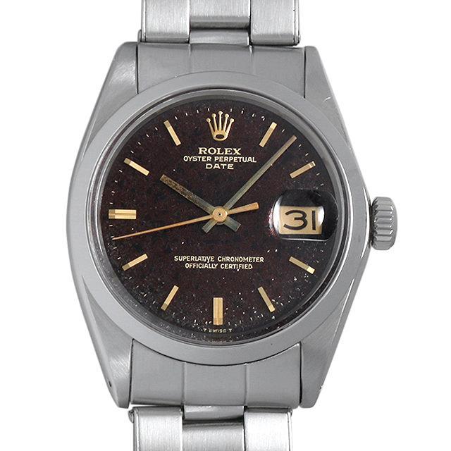 ロレックス オイスターパーペチュアル デイト Cal.1570 11番 1500 ブラックミラーダイヤル/ブラウンチェンジ メンズ(007UROAA0066) アンティーク 腕時計 送料無料