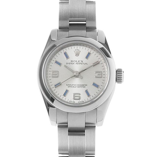 ロレックス オイスターパーペチュアル V番 176200 シルバー/369ブルーバー レディース(007UROAU0310) 中古 腕時計 送料無料