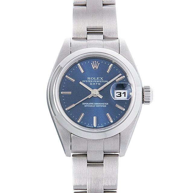 ロレックス オイスターパーペチュアル デイト P番 79160 ブルー/バー レディース(008WROAU0213) 中古 腕時計 送料無料