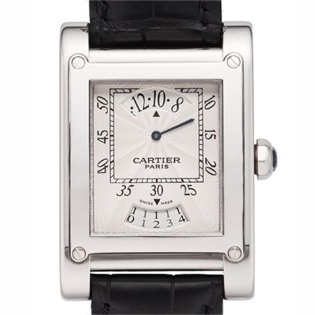 カルティエ Cartier 時計 腕時計 タンクアビス アギシェLM タイム&デイト 手巻き K18WG ホワイトゴールド メンズ タンク W1534551 時計 腕時計 中古  送料無料