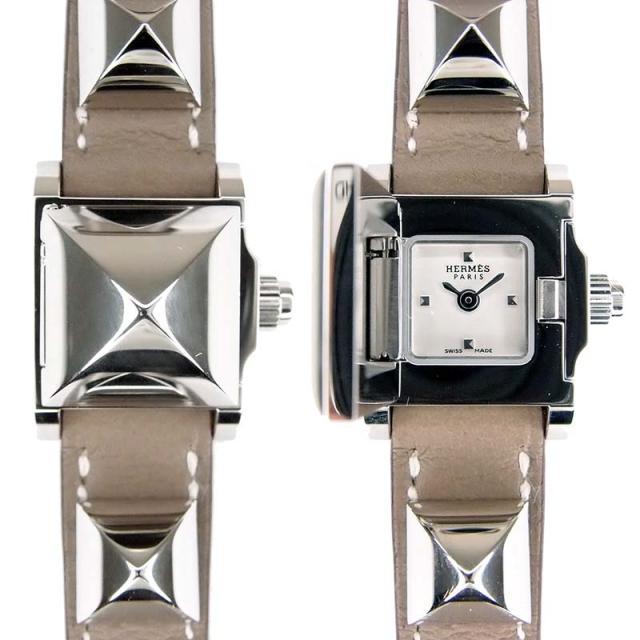HERMES エルメス 腕時計 ミニメドール クォーツ ホワイト文字盤 ステンレス レザー エトゥープ グレー 革ベルト スタッズモチーフ ブレスレット レディース ブレス ウォッチ メドール アクセサリー WATCH 送料無料