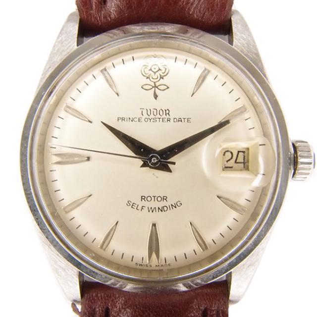 TUDOR チュードル 時計 腕時計 アンティーク プリンスオイスター デイト メンズ 7966/0 デカバラ SS ステンレス 革ベルト 自動巻 オートマ メンズ ウォッチ バラチュー デカ薔薇 ロレックスリューズ ANTIQUE 中古  送料無料