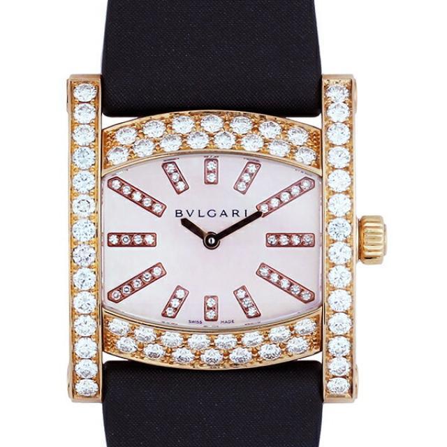 BVLGARI ブルガリ 時計 腕時計 アショーマ 36mm K18PG 革ベルト ベゼルダイヤ ダイヤインデックス ピンクシェル文字盤 ピンクゴールド AAP36G レディース ダイヤモンドベゼル ダイヤベゼル ベゼルダイヤモンド レディース腕時計 中古  送料無料