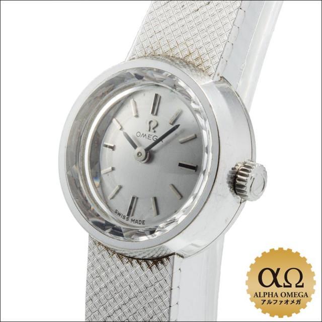 オメガ ホワイトゴールド ラウンド カットガラス Ref.711.1294 1968年 アンティーク 中古 レディース