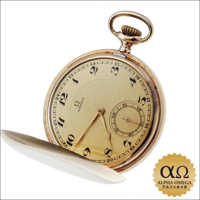 オメガ ポケットウォッチ ハンターケース 14金 イエローゴールド 手巻 シャンパンゴールドダイアル 1929年 中古 アンティーク メンズ