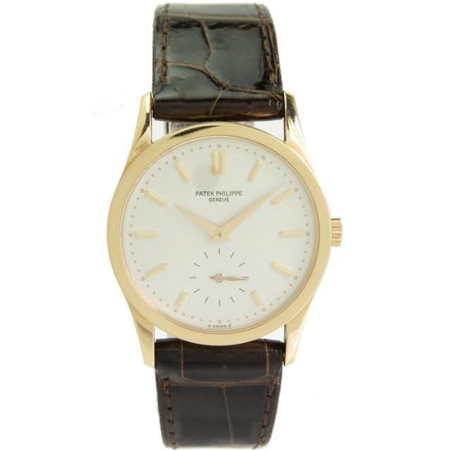 パテック・フィリップ メンズ腕時計 カラトラバ 3796 PATEK PHILIPPE K18×革ベルト 手巻き シルバー文字盤 中古 送料無料