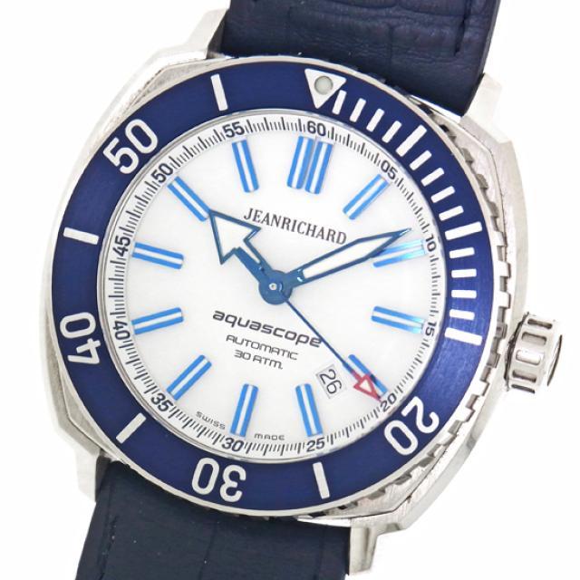 JEANRICHARD ジャンリシャール アクアスコープ 60400-11D705-FB4A 白文字盤×ブルーベゼル ステンレススチール製×ラバー SS 自動巻きメンズ腕時計 中古