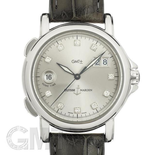 ユリス・ナルダン サンマルコ GMT ビッグデイト 223-88 シルバー ダイヤ ULYSSE NARDIN 中古 メンズ  腕時計  送料無料