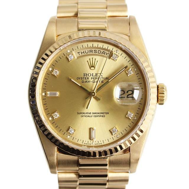 ROLEX ロレックス デイデイト メンズ腕時計 金無垢10Pダイヤ 自動巻き 18Kイエローゴールドシャンパン文字盤 18238A S番ギャランティーあり 中古