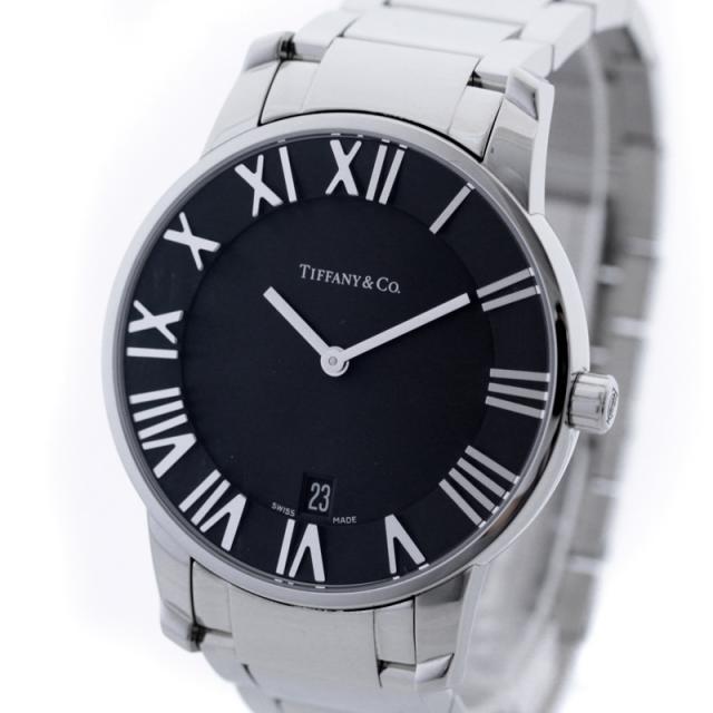 Tiffany&Co ティファニー アトラス ドーム メンズ 腕時計 ステンレス シルバー ブラック文字盤 ウォッチ クォーツ Z1800.11.10A10A00A 中古