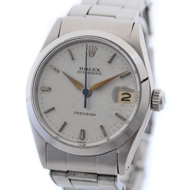 ROLEX ロレックス オイスター デイト ボーイズ 腕時計 SS ステンレス 手巻き シルバー ウォッチ 8番台 ヴィンテージ 6466 オーバーホール済み 中古