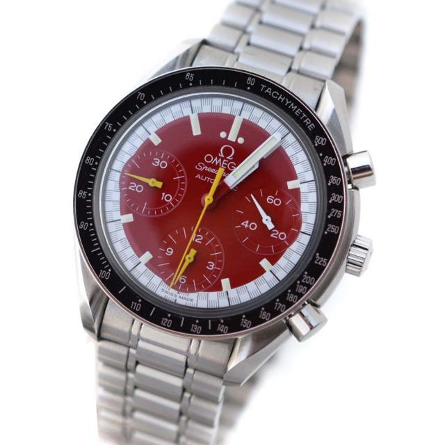 OMEGA オメガ スピードマスター ミハエルシューマッハ 腕時計 メンズ 自動巻き レッド文字盤 シルバー ブラック 3510.61 中古