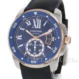 カルティエ カリブル ドゥ カルティエ ダイバー W2CA0008 Cartier 腕時計 青文字盤 K18PGピンクゴールド 安心保証 中古