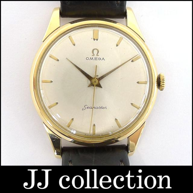 OMEGA オメガ メンズ腕時計 シーマスター K18YG×レザー 手巻き ゴールド文字盤 中古 [ka]