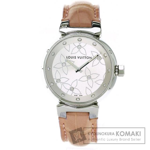 LOUIS VUITTON ルイ・ヴィトン Q131F タンブール ラブリー ダイヤモンド 腕時計 ステンレススチール/革 レディース 中古