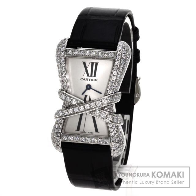 CARTIER WJ306014 タンクアンラセ リブレダイヤモンド 腕時計 K18ホワイトゴールド/クロコダイル レディース 中古 カルティエ