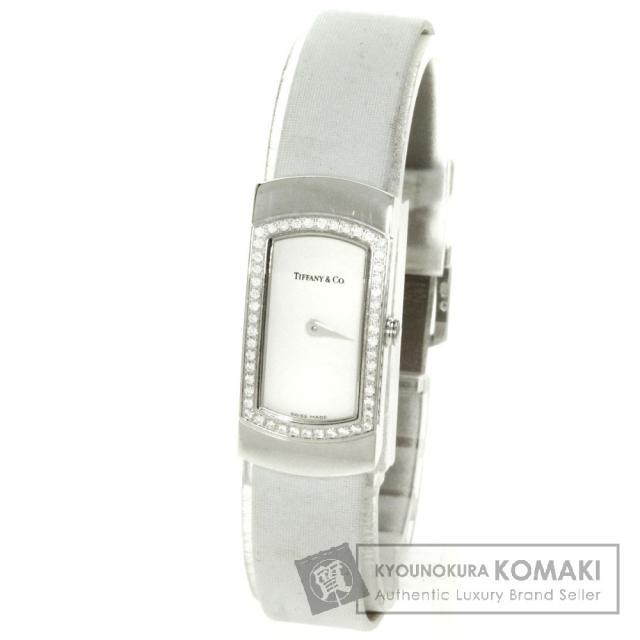 TIFFANY&Co. ティファニー カクテル ダイヤモンド 腕時計 K18ホワイトゴールド/サテン レディース 中古