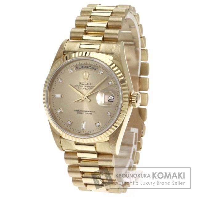 ROLEX18238A デイデイト 10Pダイヤモンド 腕時計 OH済 k18YG/k18YG メンズ 中古 ロレックス