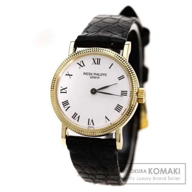PATEK PHILIPPE 4809 腕時計 OH済 K18イエローゴールド/クロコダイル レディース 中古 パテックフィリップ