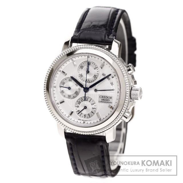 SEIKO GZBH995 6S74-0020 クレドール 腕時計 OH済 K18ホワイトゴールド/クロコダイル メンズ 中古 セイコー