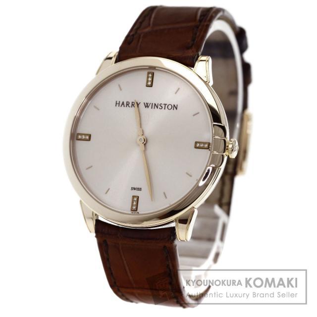 HARRY WINSTON 450/UQ39R ミッドナイト 腕時計 K18ピンクゴールド/アリゲーター メンズ 中古 ハリーウィンストン