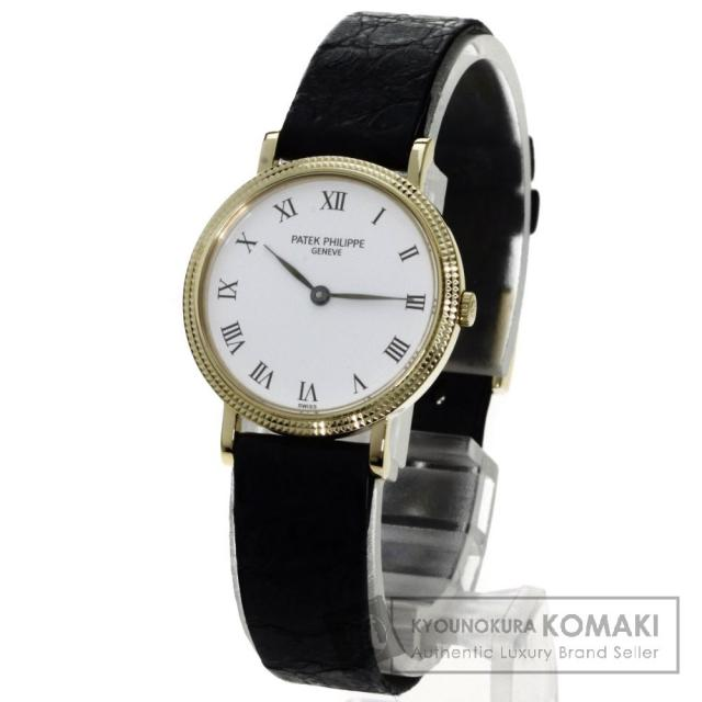 PATEK PHILIPPE 4819 カラトラバ 腕時計 K18イエローゴールド/革 レディース 中古 パテックフィリップ