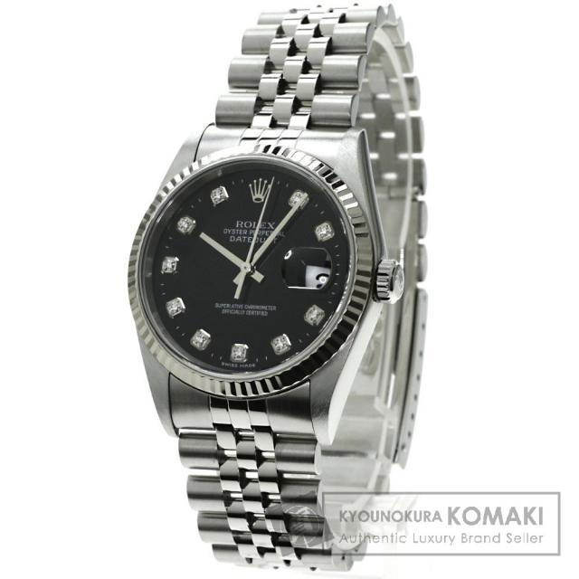 ROLEX 16234G デイトジャスト 10Pダイヤモンド 腕時計 OH済 ステンレス メンズ 中古 ロレックス