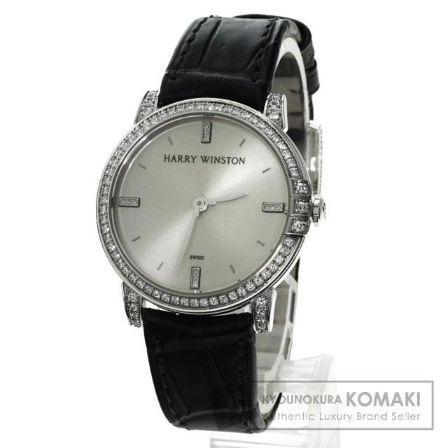 HARRY WINSTON 450/LQ32W K18WG ミッドナイト 腕時計 K18ホワイトゴールド/アリゲーター/ダイヤモンド レディース 中古 ハリーウィンストン