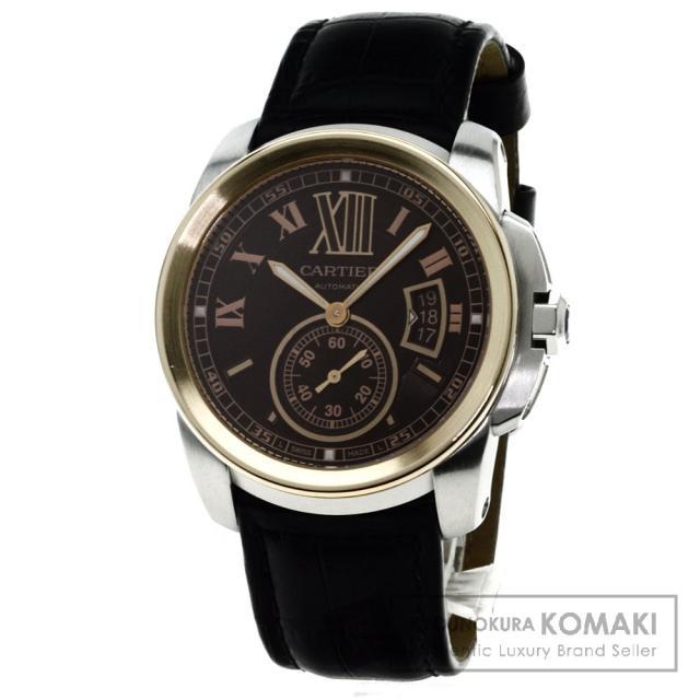 CARTIER W7100051 カリブルドゥカルティエ 腕時計 K18ピンクゴールド/SS/革 メンズ 中古 カルティエ