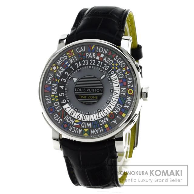 LOUIS VUITTON Q5D20 エスカルタイムゾーン 腕時計 ステンレス/アリゲーター メンズ 中古 ルイ・ヴィトン