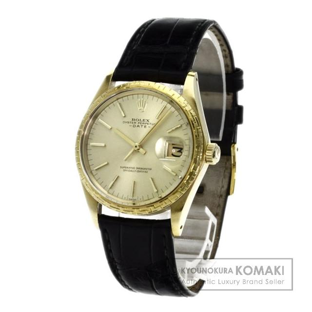 ROLEX 1504/8 腕時計 OH済 K18イエローゴールド/アリゲーター メンズ 中古 ロレックス