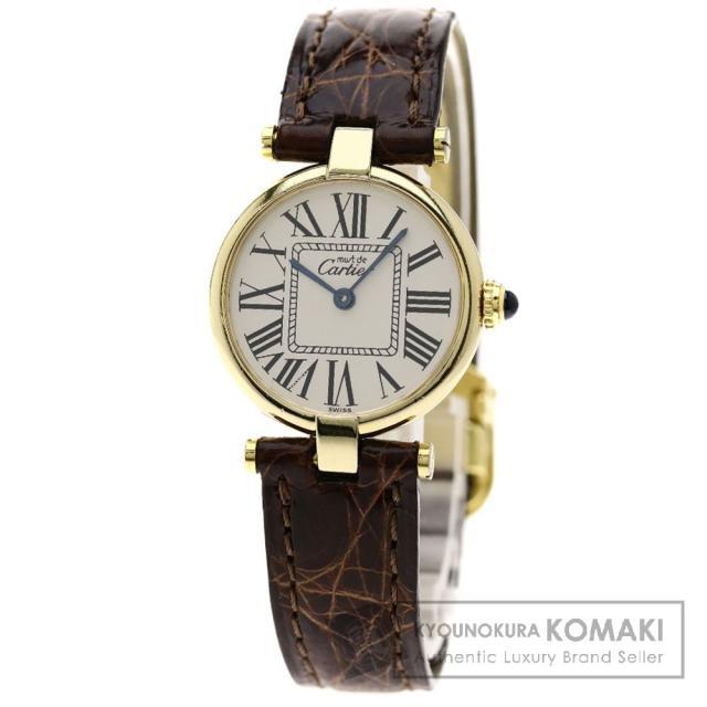 CARTIER マスト ヴェルメイユ 腕時計 OH済 シルバー925/革 レディース 中古 カルティエ