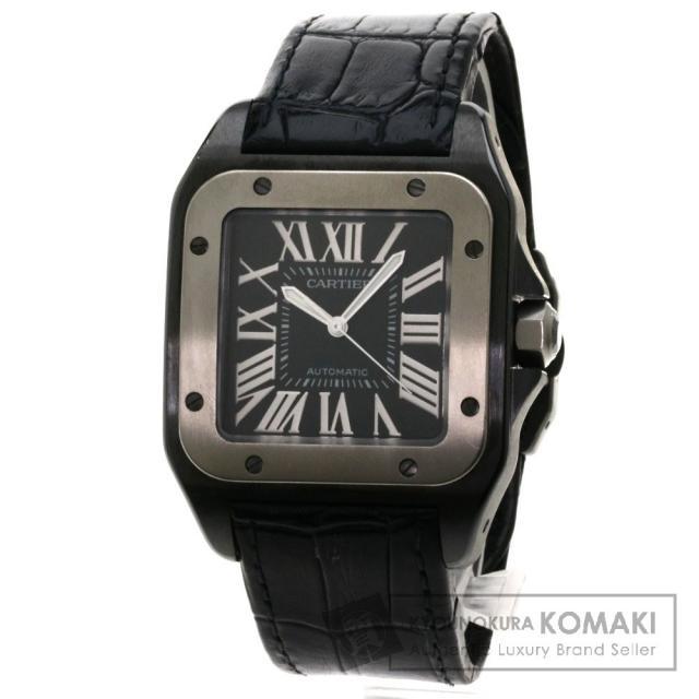 CARTIER W2020010 サントス100 腕時計 ステンレス/革/チタン メンズ 中古 カルティエ