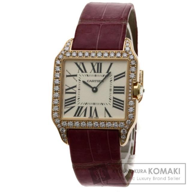 CARTIER サントスデュモン SM 腕時計 K18イエローゴールド/革/ダイヤモンド メンズ 中古 カルティエ