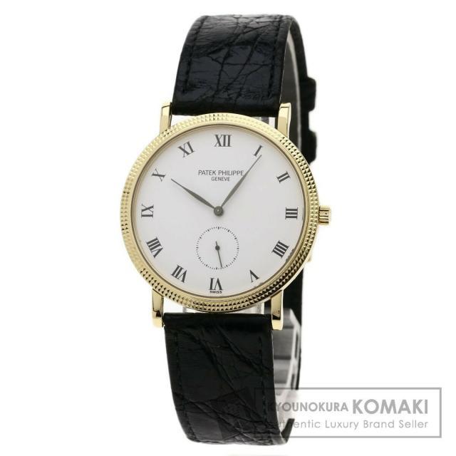 パテックフィリップ 3919 カラトラバ 腕時計 K18イエローゴールド/革 メンズ 中古 PATEK PHILIPPE