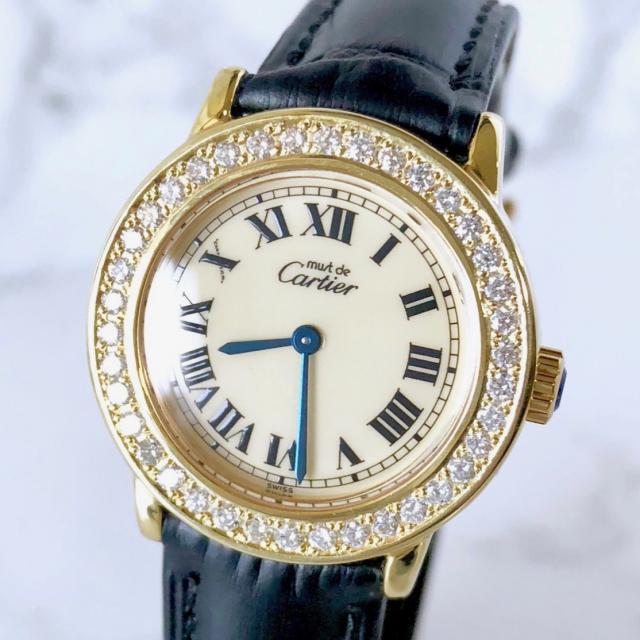 Cartier カルティエ マストロンド SM ベルト2色付 ダイヤモンド 腕時計 中古 送料無料