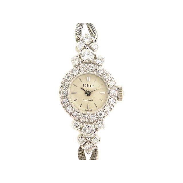 ディオール ブローバ K14WG×ダイヤ レディース手巻き腕時計 0203 中古 Christian Dior BULOVA アンティーク ヴィンテージ 美品