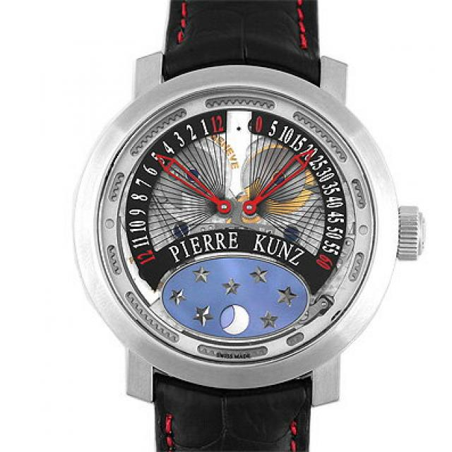 ピエール クンツ PIERRE KUNZ パピヨン PKA014HMRL SS×革 40mm レッド 赤 送料無料 中古 メンズ 腕時計 正規品 社外新品ベルトに交換済 本店_42739(C3845)